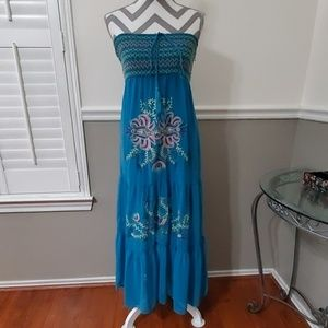 Strapless Turquoise Embroidered Dress
